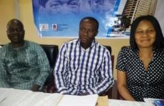 Chairman, Journalists for Democratic Rights (JODER), Comrade Adewale Adeoye; Dean, Faculty of social science and entrepreneur studies, Lead City University, Ibadan, Professor Ayo Olukotun, and President, Women Arise for change initiative, Dr. Joe Okei-Odumakin, at a two day Summit on Fostering Peaceful Inter-ethnic Relations in Nigeria with Lagos and Ibadan as Melting Points organized by JODER in Lagos.