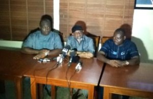 The candidates of People's Democratic Party (PDP) Tony Nwoye (R) Labour party (LP) Ifeanyi Ubah (L) and Chris Ngige of All progressive Congress (APC (Middle)