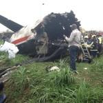 Photo News: Plane carrying Agagu's Body Crashes in Lagos